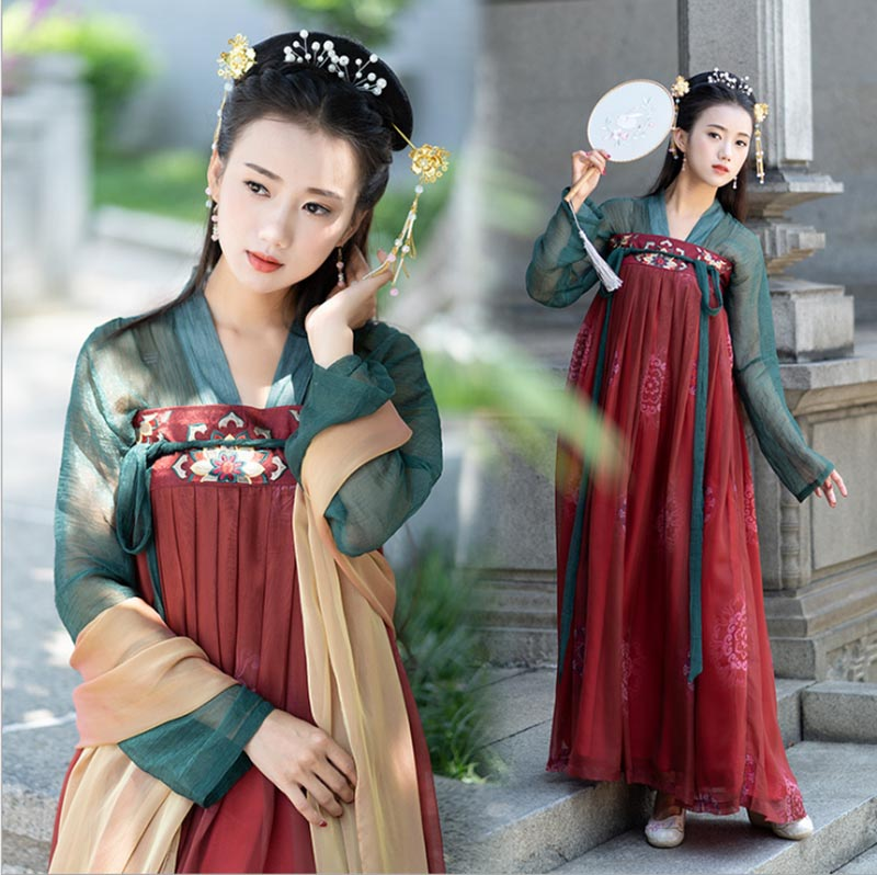 Hanfu Women Chinese Ancient Tradition Green&Red Dress Deluxe Female Carnival Cosplay Costume Outfit Hanfu For Lady Plus Size