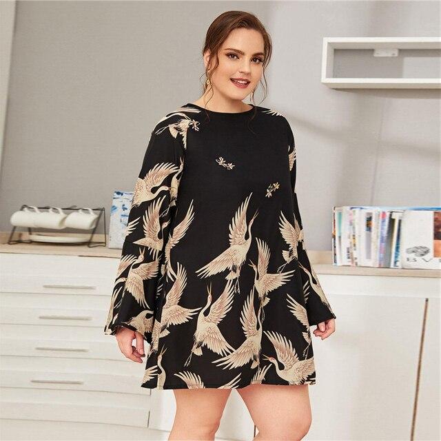Vestido corto recto casual túnica manga ancha Tallas Plus 1