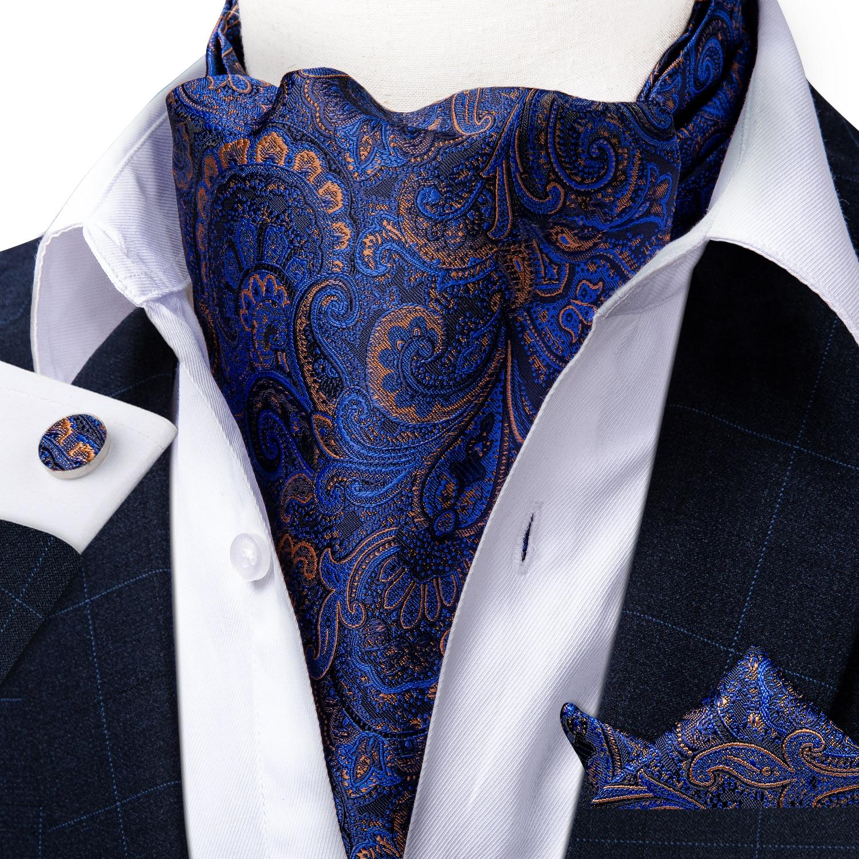 Homme Gris /& Argent Paisley Satin Soyeux Ascot Cravate /& Mouchoir De Poche-UK Made