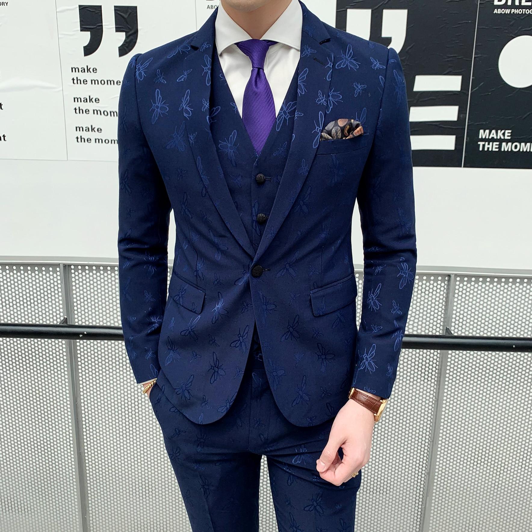 Mens Suits Designers 2019 Bee Embroidery Costume Homme 3 Piece Formal Dinner Dress Gentleman Elegant Suit Blue Vestito Uomo