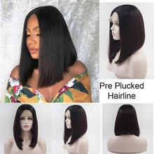 цена на 13*4 Lace Front Wigs Black Short Bob Wig Heat Resistant Fiber Hair Natural Straight Bob Synthetic Lace Front Wigs for Women