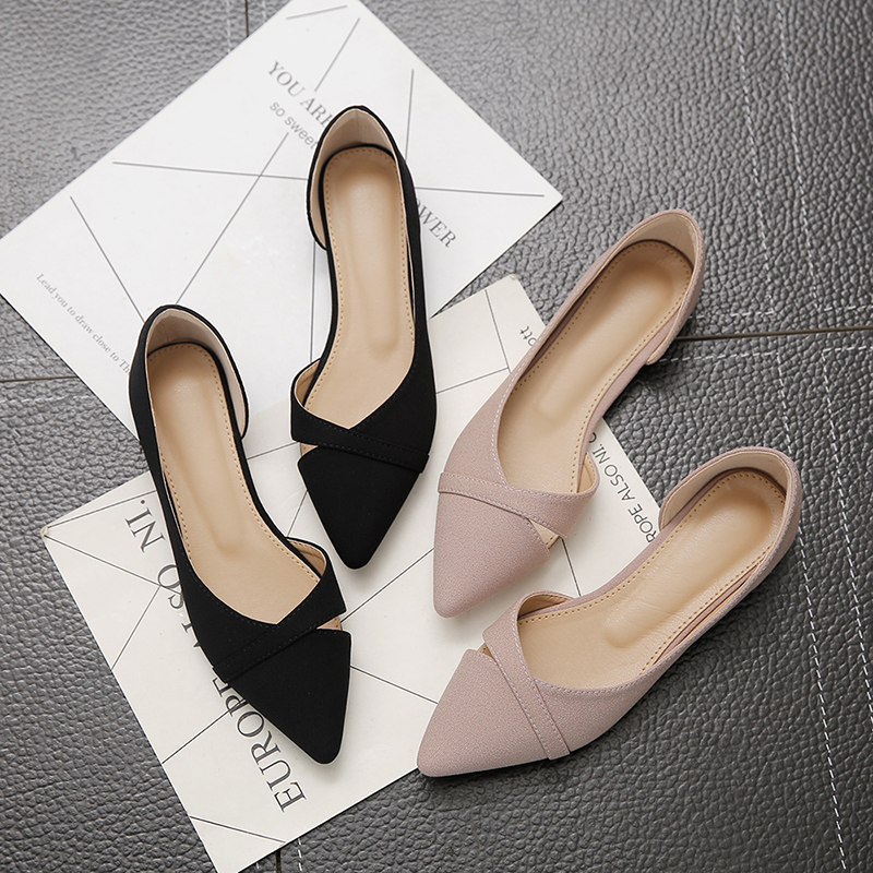 Women's Flat Shoes Pink Black Solid Color Suede Pointed Toe Office Ladies Flat Heels Women's Flats  - AliExpress