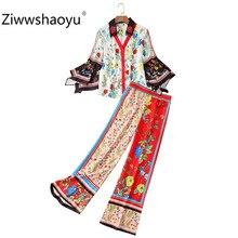 Ziwwshaoyu Designer Brand Autumn Vintage Two Piece Set Womens Fashion Color Matching Flower Print Trousers Twinset