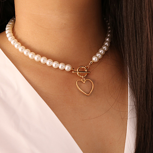 nice pearl and gold color necklace 5