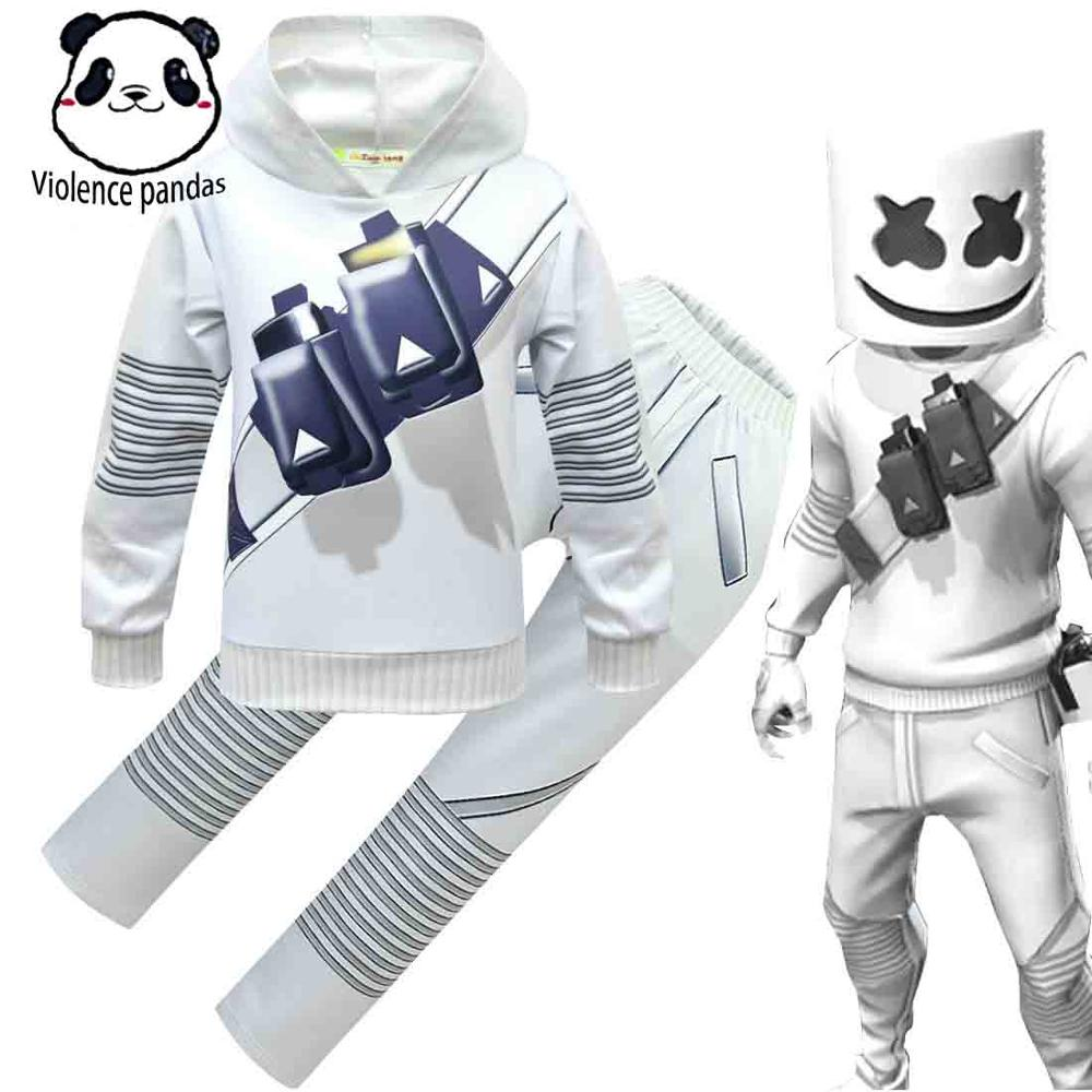 Foreign Trade Hot Spot DJ Electric Voice Cotton Candy Sweater Suit Marshmello Shake DJ Smiley Kids Cosplay  Halloween Costume