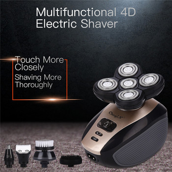 5 In 1 Men's 4D Electric Shaver Rechargeable 5 Floating Heads Beard Nose Ear Hair Trimmer Bald Head Razor Clipper Face Brush44 1
