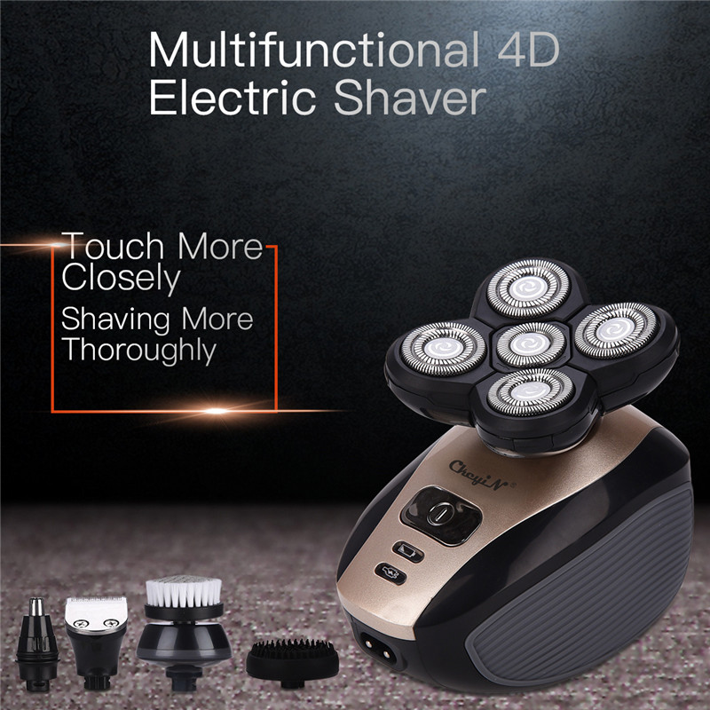 5 In 1 Men's 4D Electric Shaver Rechargeable 5 Floating Heads Beard Nose Ear Hair Trimmer Bald Head Razor Clipper Face Brush44-in Electric Shavers from Home Appliances