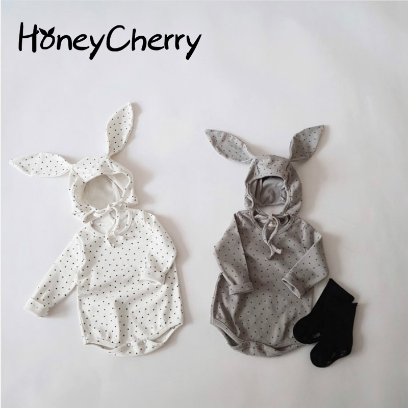 2020 New Baby Bodysuit Baby Spring Clothes Rabbit Triangle Climbing Pure Cotton One-piece Bag Fart Hat Set