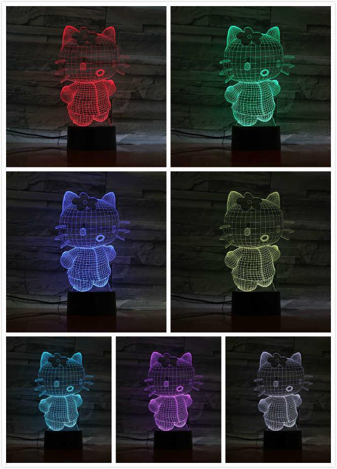 3d illusion led 야간 조명 램프 귀여운 헬로 키티 아기 보육 룸 nightlight 어린이 어린이 침실 장식 선물 3d 램프