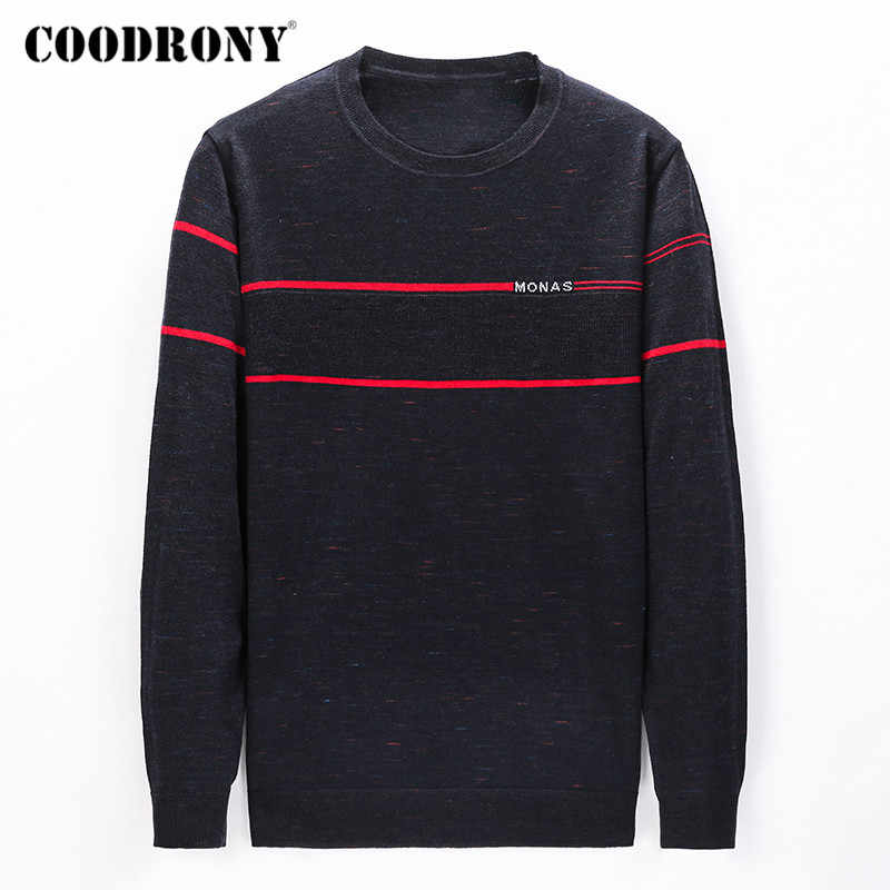 Suéter marca COODRONY para hombres, primavera Otoño, Casual, cuello redondo, ropa de hombre, moda, tejido suave, Pull Homme, Camisa de algodón C1031