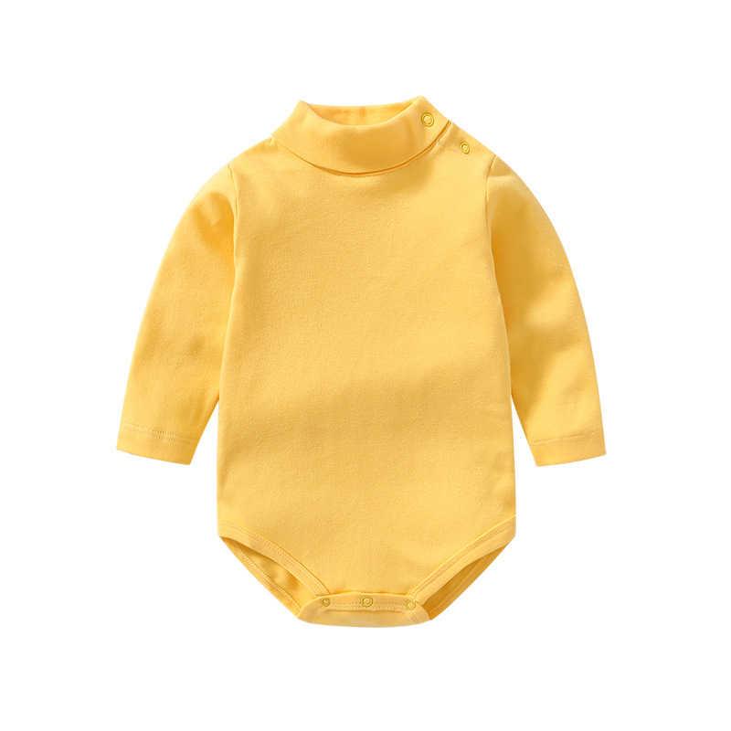 0-3 años ropa para bebés y niños pequeños monos de algodón con cuello de tortuga de Color sólido para recién nacidos niños niñas Otoño Invierno camisetas de manga larga