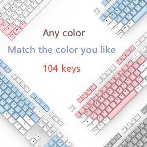 Image 2 - أغطية مفاتيح PBT شفافة بإضاءة خلفية 104 مفتاح غطاء لوحة المفاتيح الميكانيكية غطاء مفتاح مزدوج النار لكرز MX