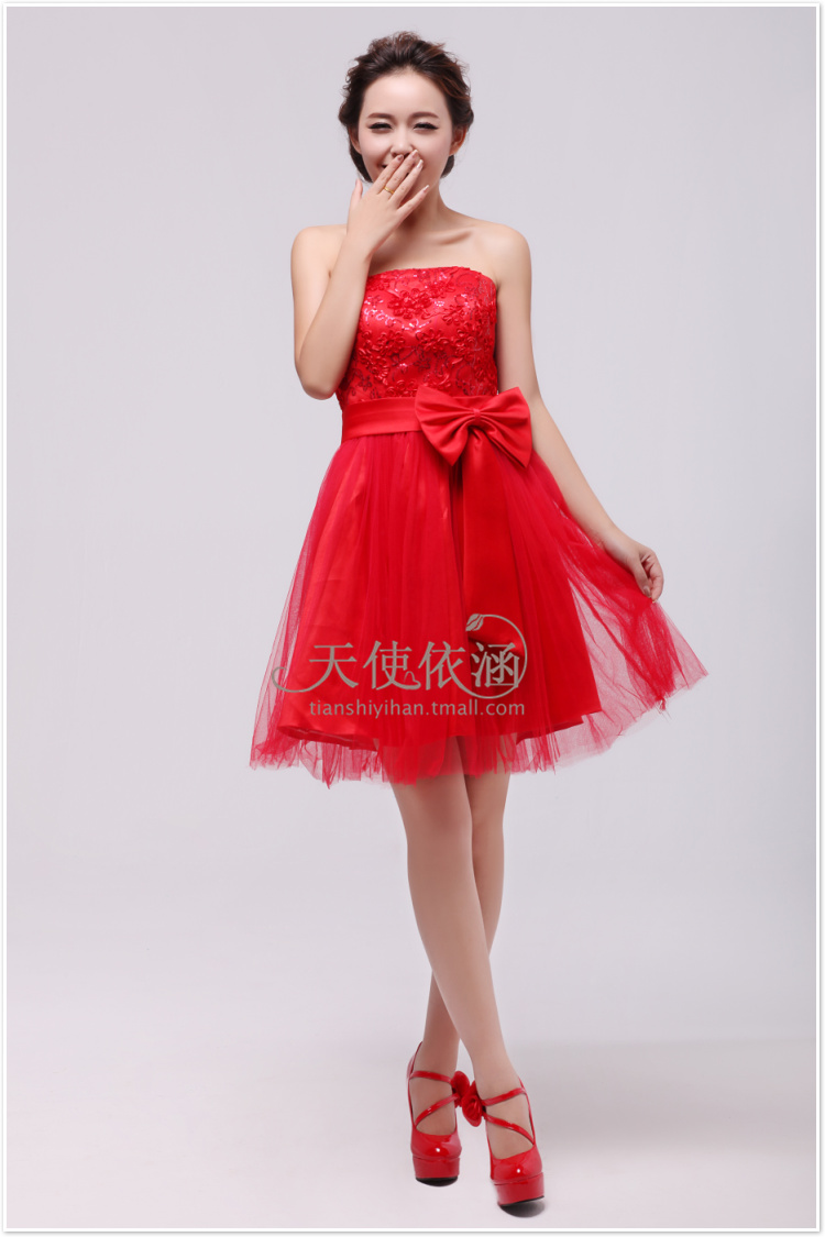 Free Shipping 2016 New Hot Sale Bride Design Vestidos Noiva Carpet Lace Bow Cute Dress Red Mini Vintage Gowns Bridesmaid Dress
