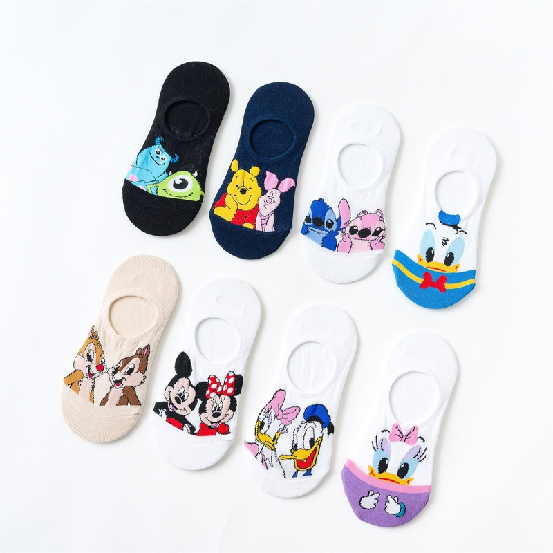 Casual Cute Women Scoks Cartoon Animal Mickey Mouse Donald Duck Invisible Ankle Socks Cotton Happy Funny Sock Kawaii Scocks