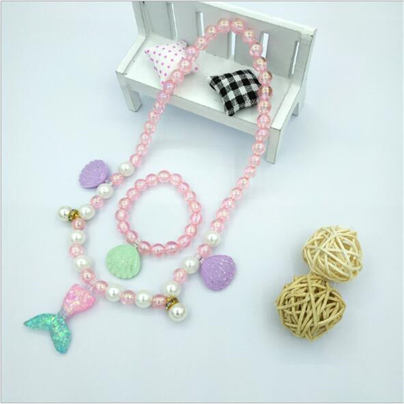 2019 Pearl Kids Jewelry Set for Party Girls Beads Necklace and Bracelet Jewelry Set Seashell Children's Decorations