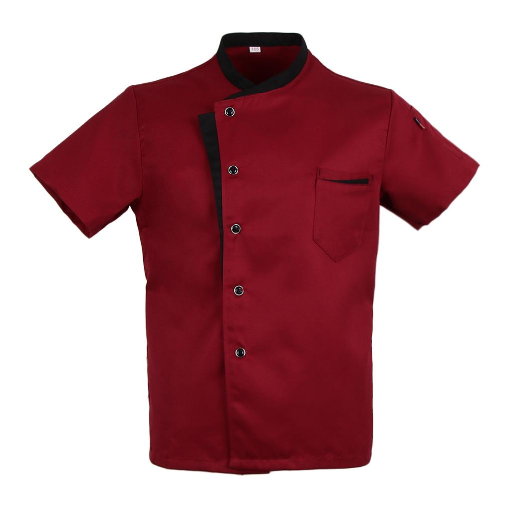 Short Sleeves Restaurant Uniform Unisex Chef Jacket Coat Shirt Hotel Kitchen Uniform Red XL Stand Collar Coat Kitchen Work Wear