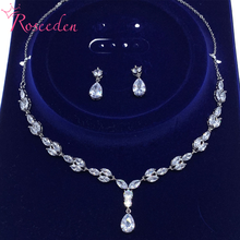 Elegant Teardrop Full Cubic Zirconia CZ Crystal Necklace and Earring Bridal Jewelry Set RE3681