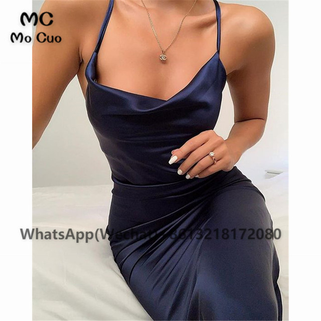 2021 Sheath Sexy Prom Evening Dresses Long Spaghetti Straps V-Neck Robe De Soiree With Side Slit Party Prom Dresses 4