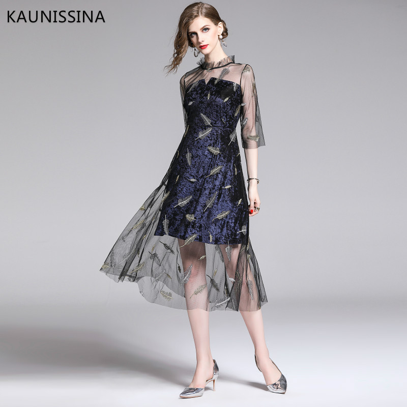 KAUNISSINA Elegant   Cocktail     Dress   Formal Gowns Fashion Embroidered Slim Mesh Velvet Half Sleeve Midi Party Robe Homecoming   Dress