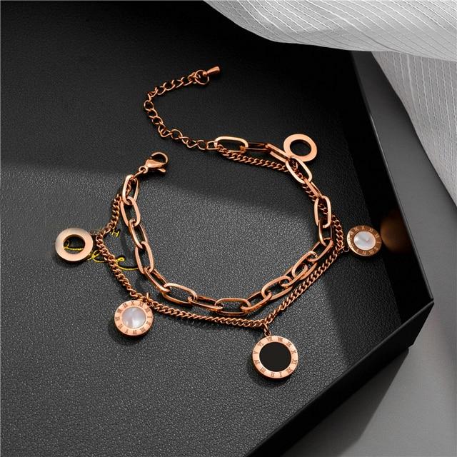 Luxury Famous Brand Jewelry Rose Gold Stainless Steel Roman numerals Bracelets & Bangles Female Charm Bracelet For Women 4