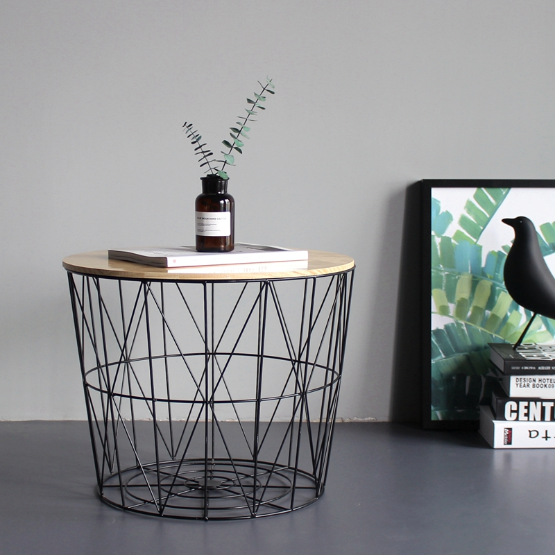 Wind Iron Side Table Small Coffee Table Solid Wood Small Round Table Bedside Table Corner Storage Basket Basket Storage Basket
