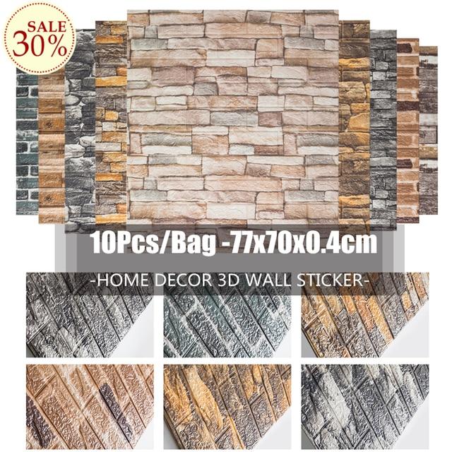 Wall Sticker 10pcs/bag 3D Brick Pattern Wallpaper for Living Room Bedroom TV Wall 77x70cm Waterproof Self-Adhesive Wall sticker 1