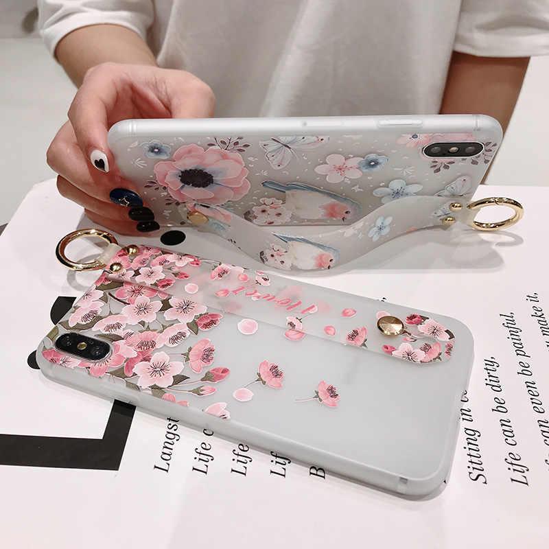 3D Fashion Rilievo Del Fiore Cassa Del Telefono Per Samsung Galaxy Note 8 9 S10e S9 S8 S10 Più A750 A40 A60 m20 Cinturino Da Polso Caso Molle di TPU