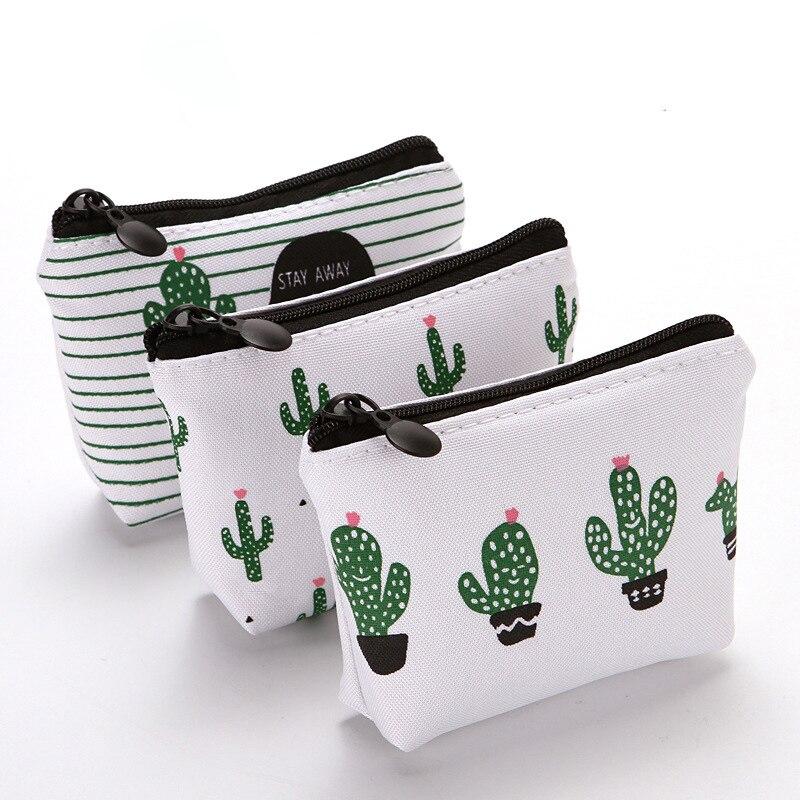 Women Canvas Zipper Small  Coin Bags Cactus Printing Fresh Mini Coin Holder Purses Girl Children's Wallet Key Purse Pouch