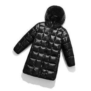Image 4 - A15 2019 الأزياء فتاة الملابس طويلة أسفل ملابس الشتاء الفتيان أسفل سترة الاطفال الدافئة ضوء مقنعين معاطف التين قميص معطف بركة (سترة من الفراء بقبعة للقطب الشمالي)