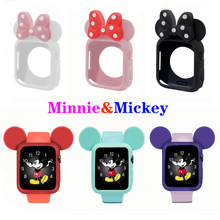 Minnie&Mickey Case for Apple Watch disney band 4 (iwatch 5) 44mm 40mm applewatch 3 2 1 strap 42mm 38mm Lovely Protective case(China)