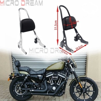 Detachable Sissy Bar Backrest Pad Luggage Rack for Harley Sportster XL883 XL1200 C/N/R 48 72 XL 883 1200 Iron SuperLow Custom for harley sportster 1200 iron 883 roadster forty eight custom seventy two superlow motorcycle sissy bar passenger pad backrest