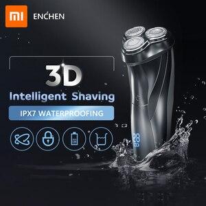 Image 1 - Xiaomi ENCHEN моющаяся перезаряжаемая электробритва BlackStone3 IPX7 Водонепроницаемая бритва индикатор батареи бритвенный станок для бороды