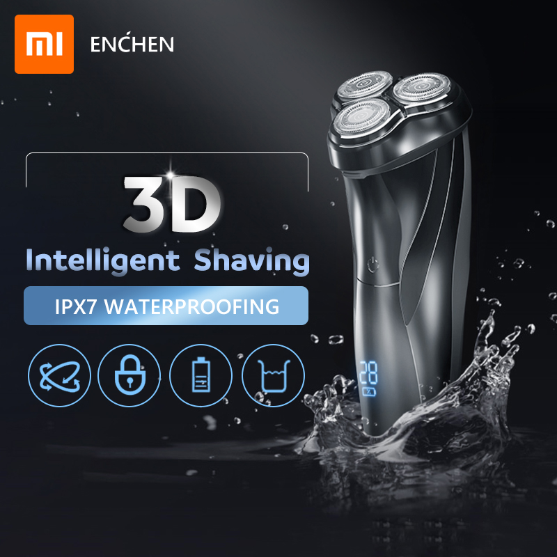 Xiaomi ENCHEN Washable Rechargeable Electric Shaver BlackStone3 IPX7 Waterproof Razor Battery Indicator Shaving Beard Machine