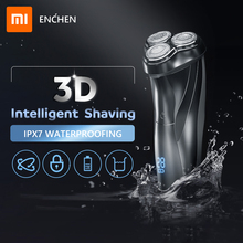 Xiaomi enchen lavável recarregável barbeador elétrico blackstone3 ipx7 à prova dwaterproof água navalha bateria indicador de barbear máquina barba