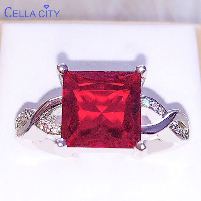 Cellacity Luxury 925 Silver Ring For Women With Big Ruby Square Gemstone  Charm Female Jewelry  Engagement  Wedding Party Gift