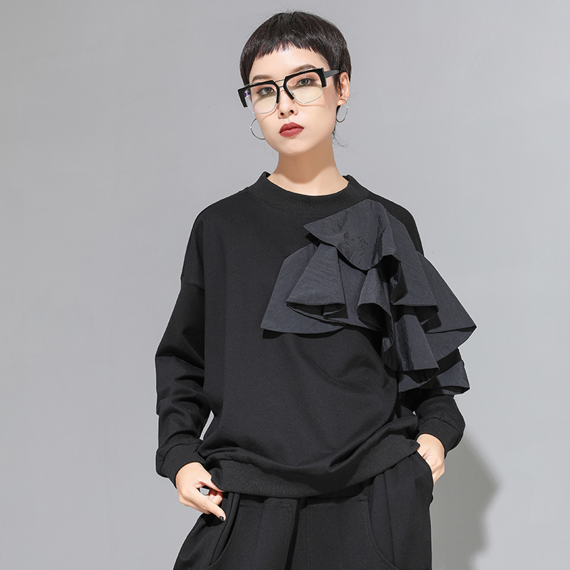 [EAM] Women Loose Fit Mesh Ruffle Spliced Big Size T-shirt New Round Neck Long Sleeve Fashion Tide Spring Autumn 2021 1A937