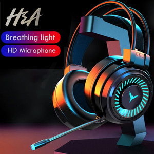 H&A Gaming Headsets Gamer Headphones Surround Sound Stereo Wired Earphones USB Microphone Colourful Light PC Laptop Game Headset
