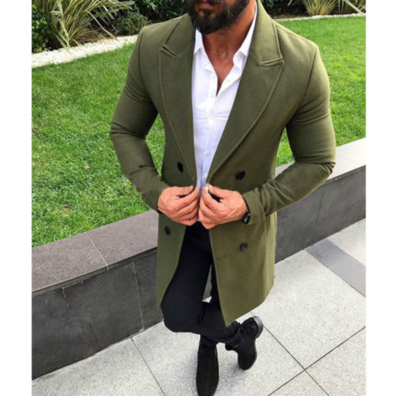 Men Wool Coat Winter Trench Lapel Outwear Warm Overcoat Long Jacket Peacoat