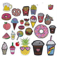 Cute Drink Hamburg French Fries Cherry Ice Cream Embroidered Iron on Patches for Clothing Fabric Sewing Stickers Badges Applique(China)