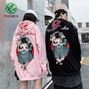 Image 1 - 2019 Dropshipping Embroidered Hooded Top Men Women Autumn Winter Loose Hiphop Hoodies Couples High Quality Casual Sweatshirts