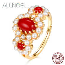 ALLNOEL 925 Sterling Silver Women's Ring Red Coral 5A Zircon Diamonds Genuine Gold Plated Wedding Engagement Adjustable Ring