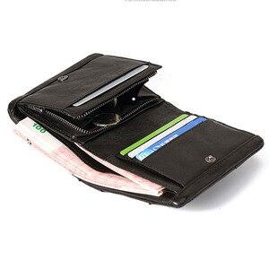 Image 3 - AETOO Handmade leather wallet men short section vertical zipper personality men money wallet youth vintage male Vintage wallet