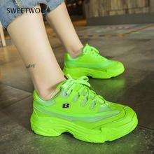 Sneakers Women Platform Casual Shoes Fashion Sneakers Platform Basket Yellow Lace-Up Casual Chunky Shoes 41
