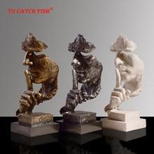 Figurine en résine d'art moderne, Sculpture abstraite artisanale, ornements, le Silence est doré, accessoires de décoration de bureau et de maison