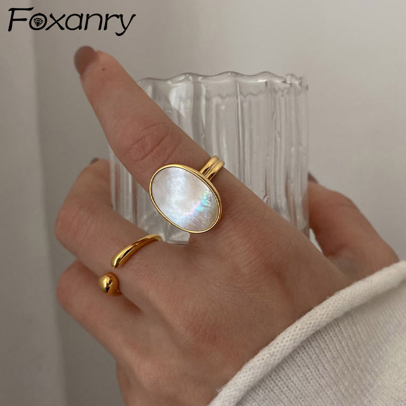 Foxanry 925 Sterling Silver Shell Rings Luxury Bride Jewelry for Women Fashion Simple Ellipse Geometric Party Accessories Gifts