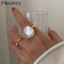 Foxanry – bagues coquille en argent Sterling 925, bijoux de mariée de luxe pour femmes, mode Simple Ellipse géométrique, accessoires de fête, cadeaux