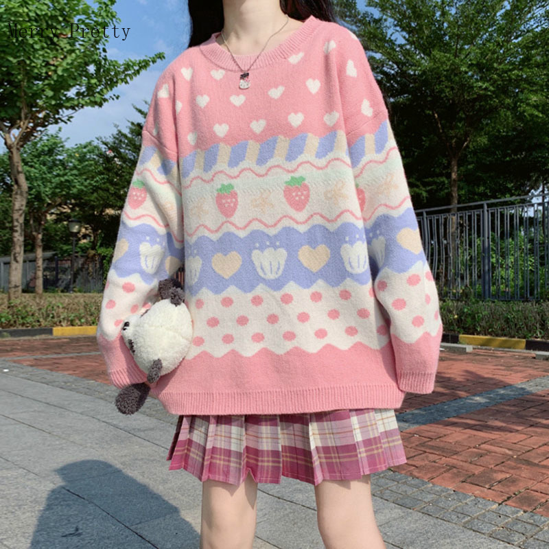 Strawberry Embroidery Knitted Pullover Sweaters