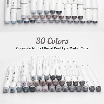 TouchNew marker do malowania dwustronny atrament na bazie alkoholu neutralny szary kolor szkic szare odcienie na rysunek graficzny tanie i dobre opinie CN (pochodzenie) 30 KOLORÓW 30 kolorów w pudełku Zestaw