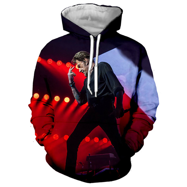 Johnny Hallyday Hoodies France Rock Singer 3D Printed Sweatshirt Men Women Casual Fashion Hoodie Oversized Hip Hop Pullover Coat 3