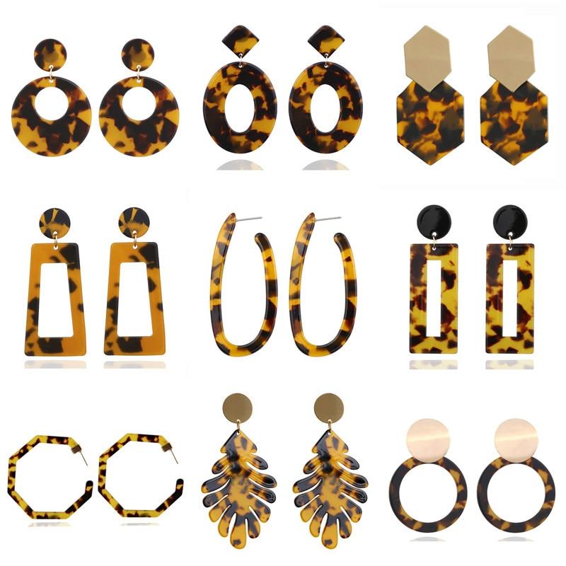 Серьги-подвески WUKALO в богемном стиле женские, круглые ювелирные украшения из акриловой смолы с леопардовым принтом в стиле бохо
